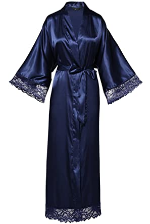 a11d181af073c BABEYOND Womens Satin Kimono Robe Long Bridesmaid Wedding Robes for  Bachelorette Party Bath Robe Nightgown Sleepwear