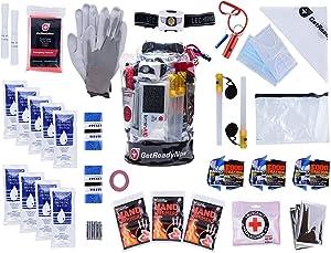 GETREADYNOW | 72-Hour Grab & Go Emergency Kit | Essential Emergency Supplies for 3 Days - Hurricane, Earthquake, Tornado Disaster Preparedness Kit. Heavy Duty Clear Waterproof Dry Bag.