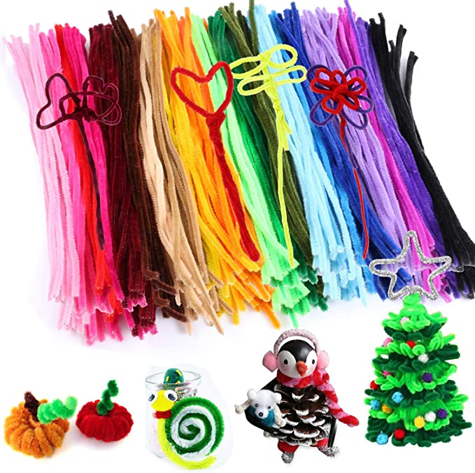 G2PLUS Pipe Cleaners Bendy 240 PCS Chenille Stem for Arts and Crafts 6mm 30cm Furry Wire Twist Tie in Assorted Colours