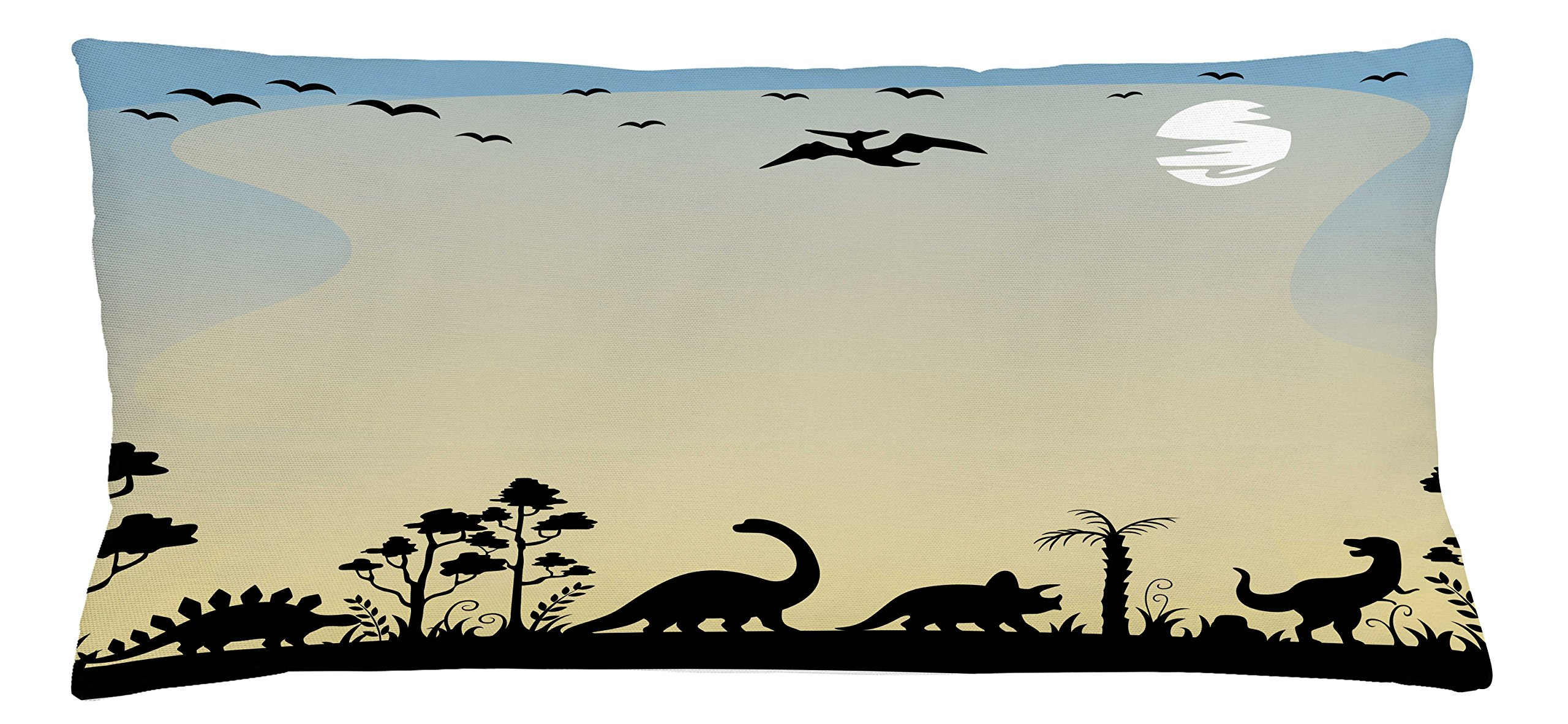 Lunarable Boy's Room Throw Pillow Cushion Cover, Dinosaurs in Fauna Graphic Illustration Extinct Animals Sunset Prehistoric Time, Decorative Square Accent Pillow Case, 36 X 16 inches, Sand Brown