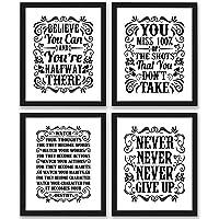 Motivational Inspirational Quotes Art Prints 4 Pack Set of Four Photos 8x10 Unframed Classroom Office Home Wall Art…