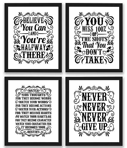 Amazon.com: Motivational Inspirational Quotes Art Prints 4 Pack
