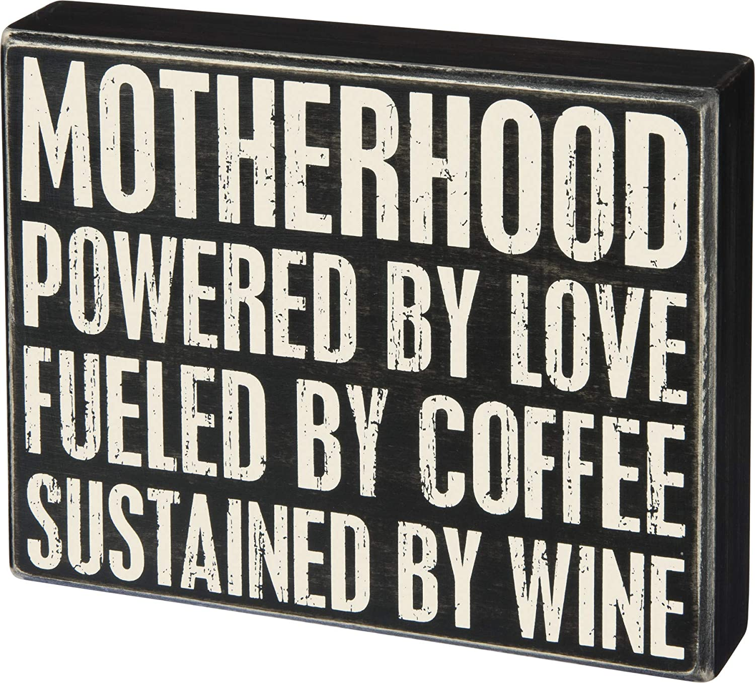 Primitives by Kathy Motherhood Powered by Love Coffee Wine 8 Inches Square Wood Box Sign Home and Garden Decor