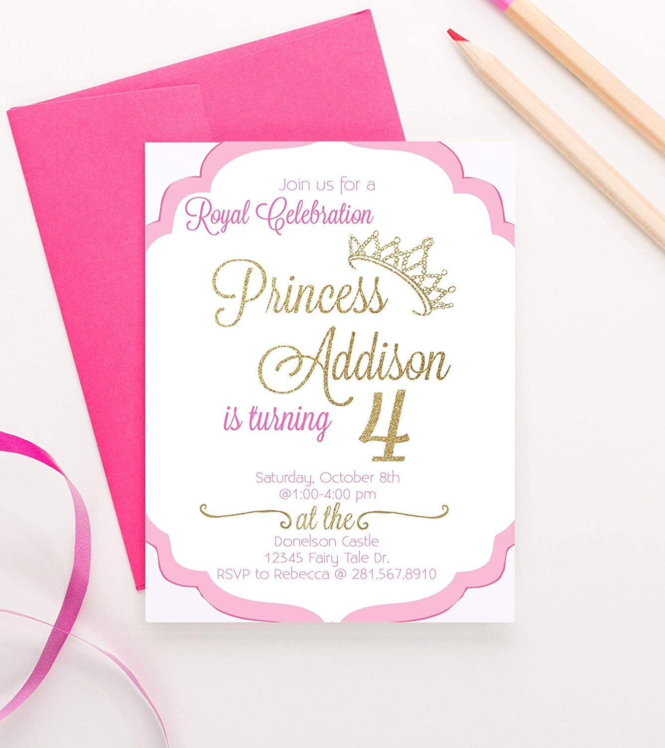 Princess Birthday Invitations For Girls Party Invite Invites Royal Invitation Your Choice Of Quantity And Envelope