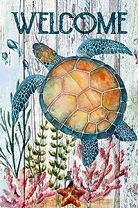 Texupday Welcome Turtle Tropical Ocean Garden Flag Rustic Coastal Summer Beach Yard Flag 12