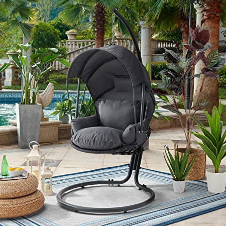 Amazon Com Barton Patio Hanging Lounge Chair With Deep Cushion Chair Uv Resistant Canopy Top Grey Garden Outdoor