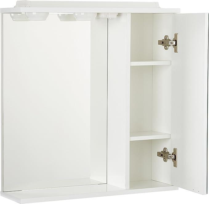 The Living Design Volta Armario con 1 Puerta con Espejo, Madera, Blanco, 63x61x15.6 cm: Amazon.es: Hogar