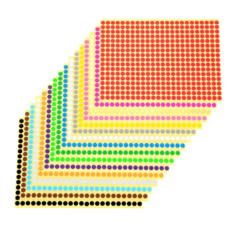 outus 16 piezas Pegatinas puntos adhesivos redondos adhesivos puntos colores para etichettatura, 16 colores: Amazon.es: Oficina y papelería