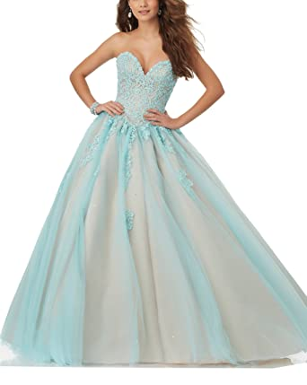 61cbe3c09bc Elley Women s Sweetheart Lace Applique Sweet 15 Floor Length Ball Gown Prom  Quinceanera Dress Green+
