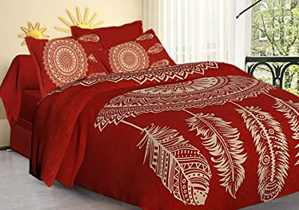 Tiger Exports 100% Cotton Rajasthani Tradition Print King Size Double Bedsheets with 2 Pillow Cover | Red
