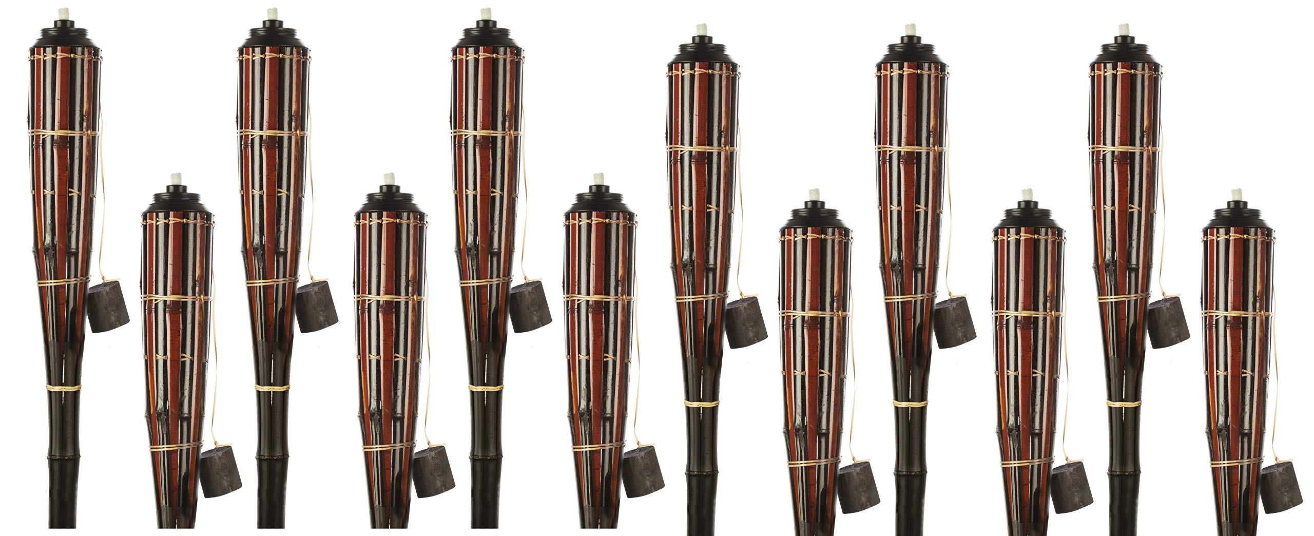 5 Star North Black Cherry/Espresso Stripe Bamboo Torches; Decorative Torches; Fiberglass Wicks; Extra-Large (16oz) Metal Canisters for Longer Lasting Burn; Stands 59'' Tall (12 Pack)