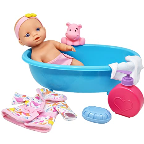 Amazon.com: Baby Doll Bathtub Set Featuring 10 Inch All Vinyl Doll ...