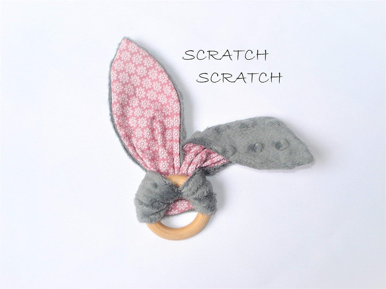 Hochet lapin oreille bruyante - Anneau de dentition montessori pour bébé - Fleurs rose
