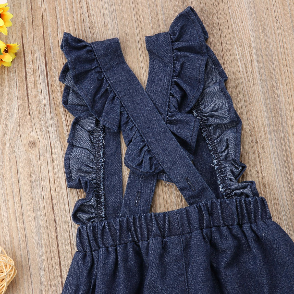 Kids Toddler Baby Girl Ruffle Dots Denim Jumpsuit Suspenders Overalls Outfit