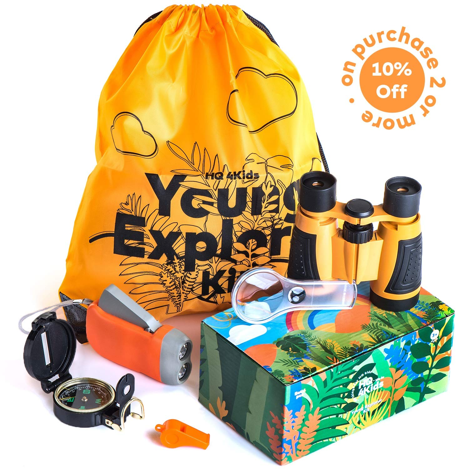 HQ4Kids - Outdoor Educational Kids Toys: Set Binoculars, Compass, Magnifying Glass & Flashlight. Explorer Hiking & Camping Games Kit, Great for Exploring Nature, Adventure Kids & Birthday Gift