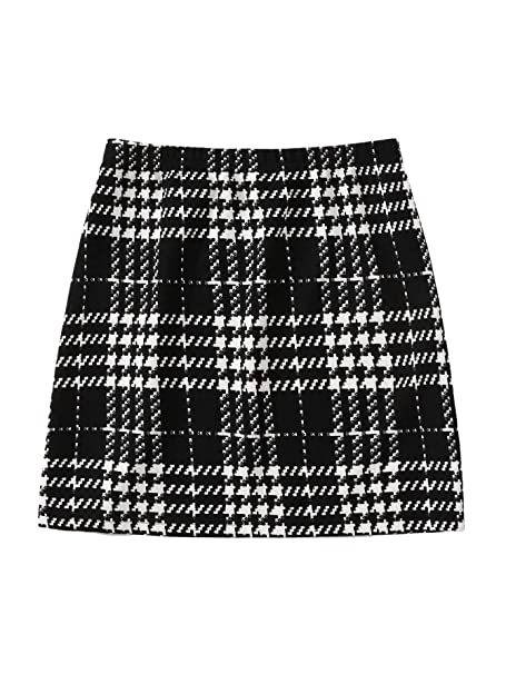 run shoes variety styles of 2019 outlet SheIn Women's Basic Stretch Plaid Mini Bodycon Pencil Skirt