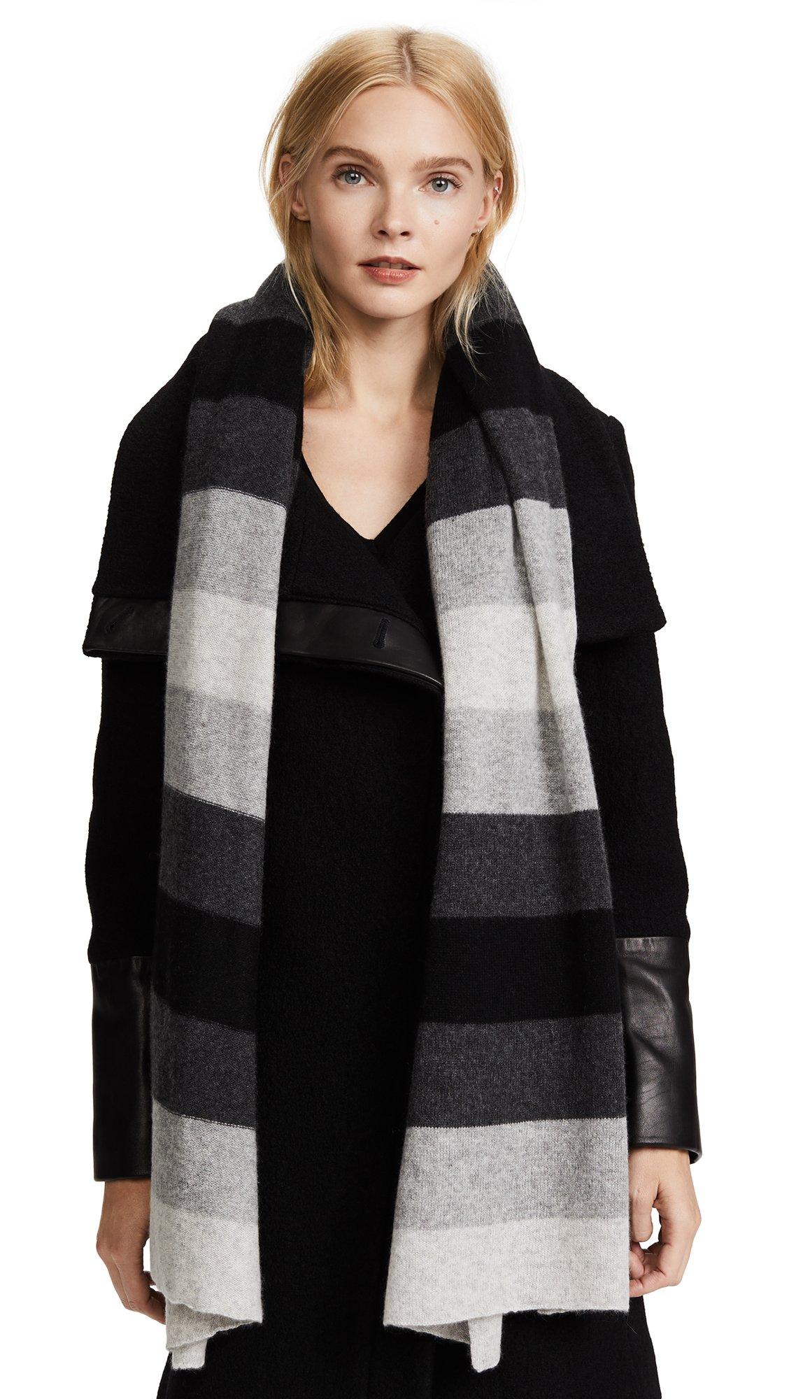 White + Warren Women's Cashmere Ombre Stripe Scarf, Black Multi, One Size by White + Warren