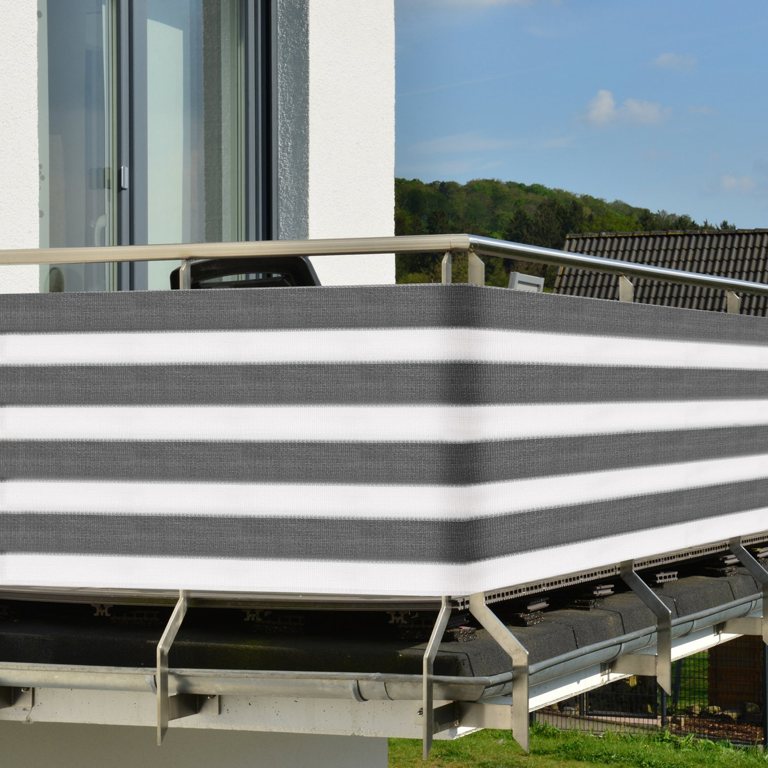 Sol Royal Balcony Screening SolVision Privacy Screen 5 m x 0.9 m UV Protection Sun Cover Windbreak - Grey-White