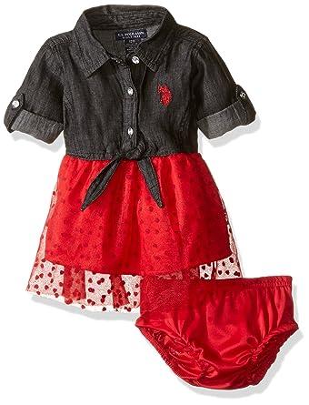 Amazon Com U S Polo Assn Baby Girls Tulle Bottom To Woven Denim