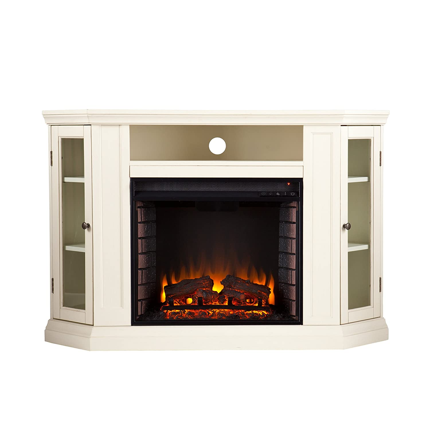 Look at our detailed Claremont Convertible Corner Electric Fireplace TV Stand Review. It comes in 4 finishes w/ optional corner placement. This is a winner.