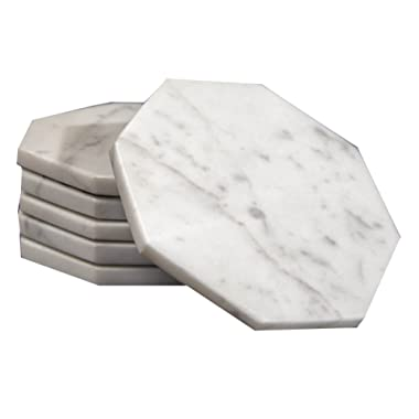 CraftsOfEgypt Set of 6 - White Marble Stone Coasters – Octagonal Polished Coasters – 3.5 Inches (9 cm) in Diameter – Protection from Drink Rings