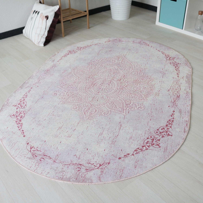 Moderner Designer Teppich Vintage mit Medaillion in Rosa mit Kelim Kilim Oberfläche waschbar und rutschfester Latexrücken, pflegeleicht mit Öko-Tex in Rund und Oval (Oval 120cm x 180cm)