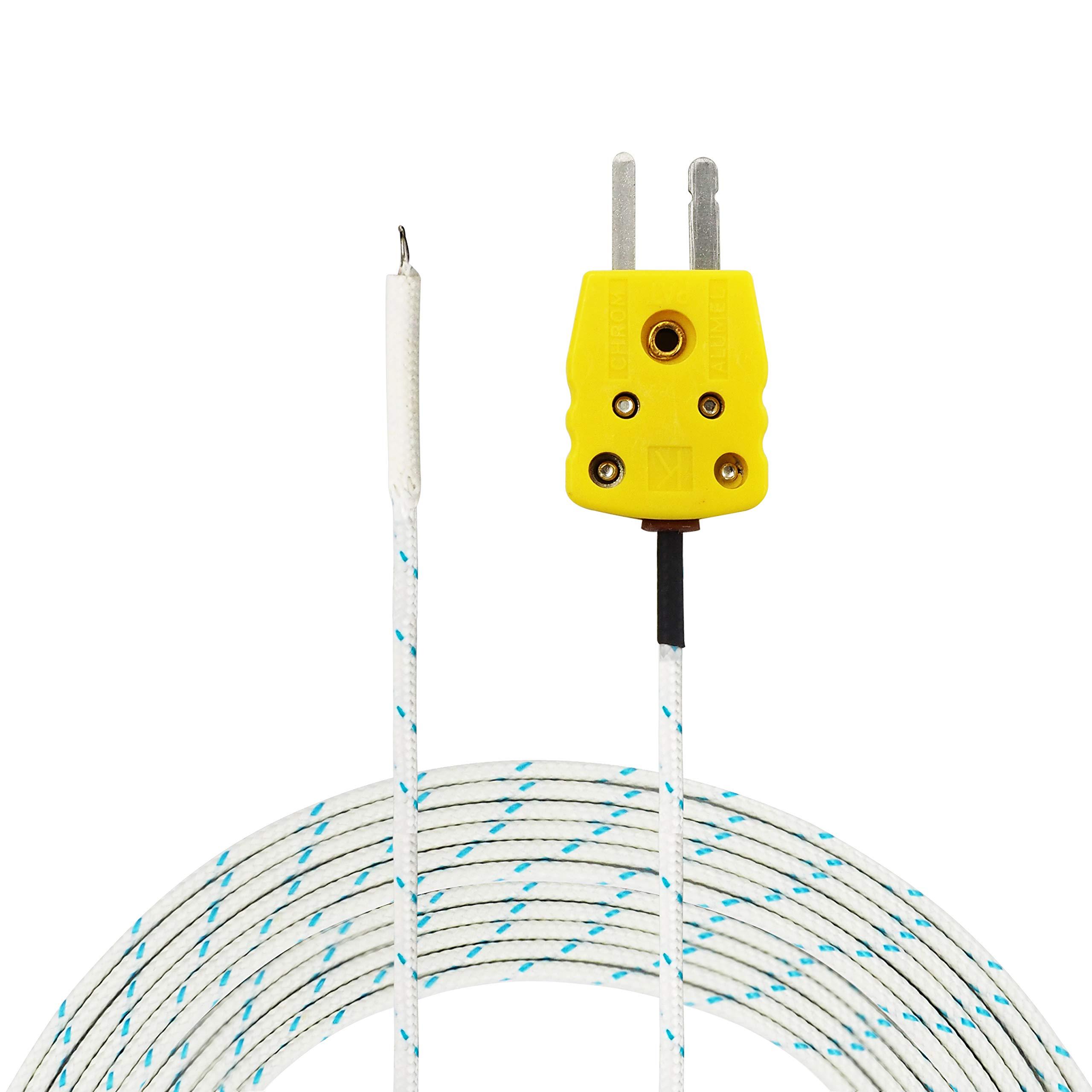 Plastic 5PCS K Type 0-400C Temperature Sensor Thermocouple Probe 2 Meter 6.6Ft MJ