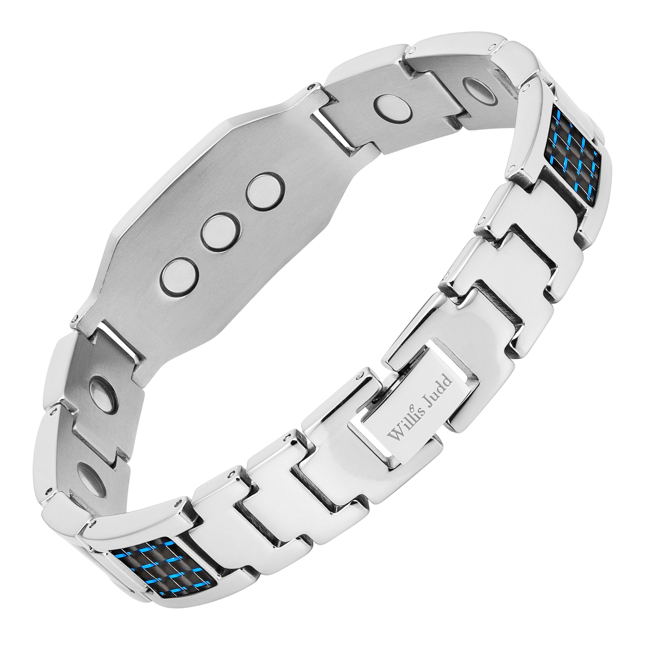Men's Christian Cross Titanium Magnetic Bracelet with Blue Carbon Fiber by Willis Judd by Willis Judd (Image #3)