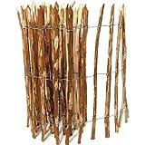 BooGardi Kastanienzaun in 28 Größen · Staketenzaun 60 x 500 cm (Lattenabstand 3-5 cm) aus Haselnuss · Rustikaler Gartenzaun als Rolle mit gespaltenen Staketen