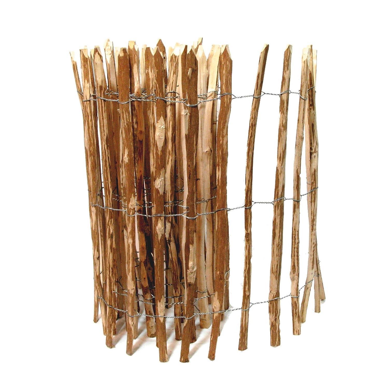 BooGardi Kastanienzaun in 28 Größen · Staketenzaun 90 x 500 cm (Lattenabstand 3-5 cm) aus Haselnuss · Rustikaler Gartenzaun als Rolle mit gespaltenen Staketen