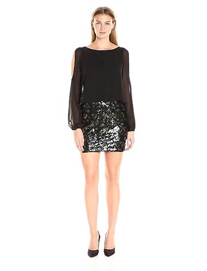 19c3a6f6e13 Amazon.com  Aidan by Aidan Mattox Women s L s Cold Shoulder Chiffon  Blousson Cocktail Dress with Stretch Sequin Skirt  Clothing