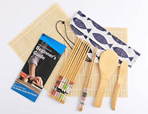 Sushi Making Kit for Beginners, Bamboo Sushi Kit, Including 1 Beginner's Guide, 2 Sushi Rolling Mats, 5 Pairs of Chopsticks, 1 Rice Spreader, 1 Rice Paddle and 1 Cotton Bag, Set of 11