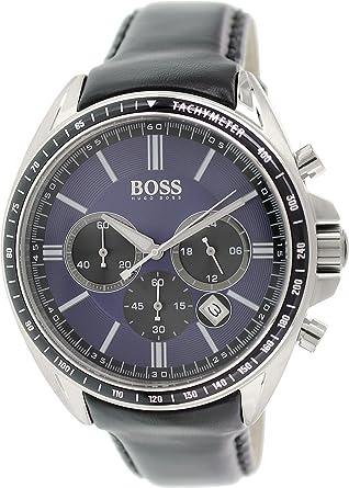 hugo boss hb1513077 watch men quartz chronograph black hugo boss hb1513077 watch men quartz chronograph black leather strap blue dial