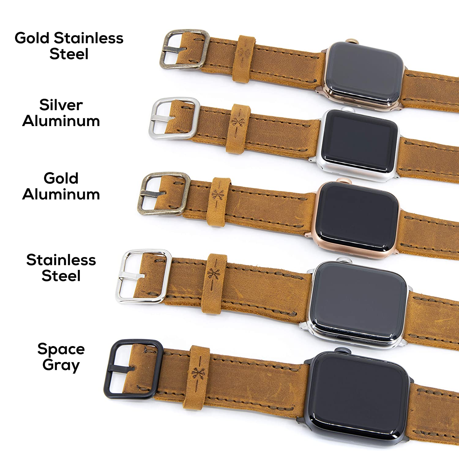 44b43bb80 Amazon.com: Arrow & Board Triple Tour - Espresso Dark Brown - Full Grain Leather  Replacement Band Compatible with Apple Watch (Stainless Steel, ...