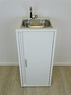 Lavabo portátil Blanco Incluye fregadero de acero inoxidable/listo para usar/, Bomba sumergible, fuente, grifo, compartimento,…