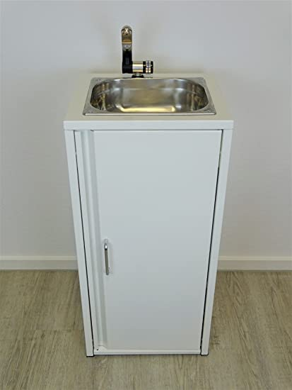 Mobile Unit White Including Stainless Steel Sink Ready To Use Submersible Pump Tap Pocket 2 Canister 15 Litres For Fresh Water And Sewage And Sink