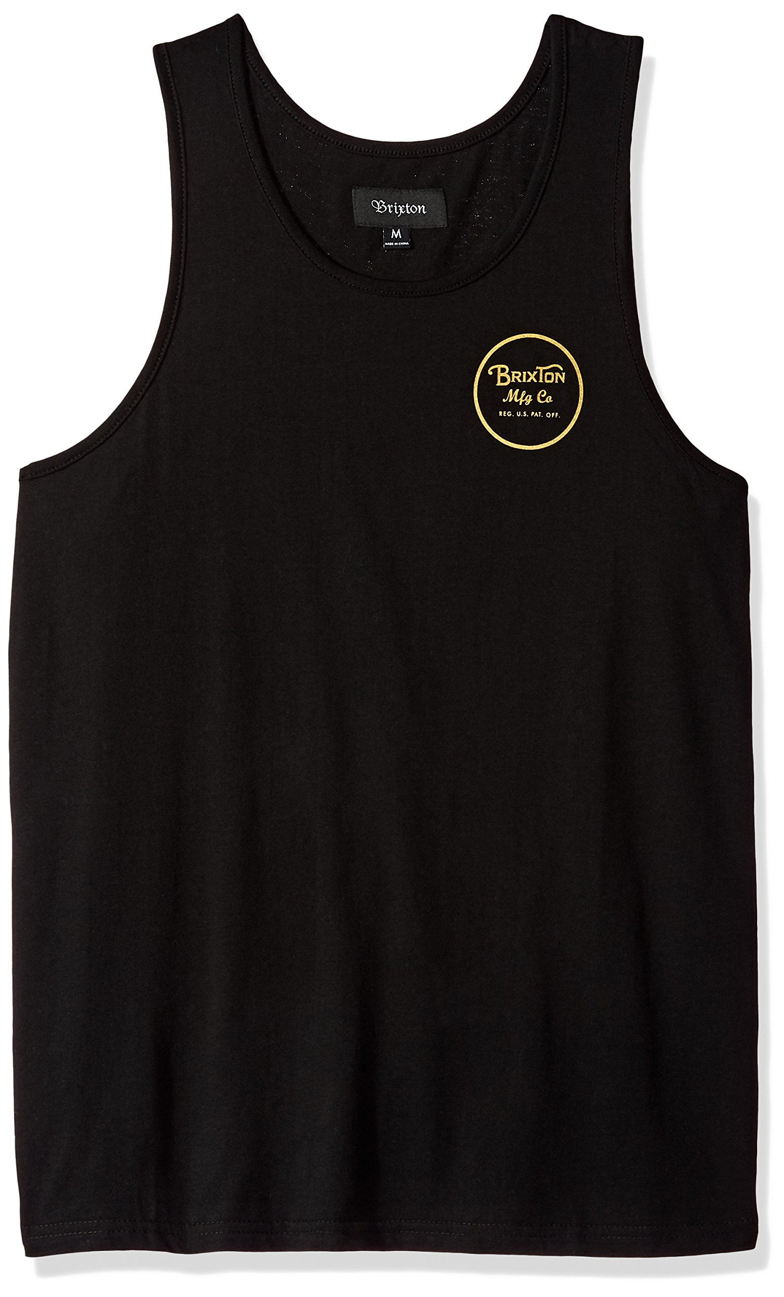 Brixton Men's Wheeler Tailored Fit Tank Top, Black/Gold, M