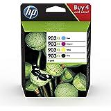 HP 903XL 3HZ51AE, Negro y Tricolor, Cartuchos de Tinta de Alta Capacidad Originales, Pack de 4, compatible con…