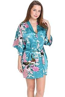 Aibrou Women s Kimono Robe Satin Peacock Bathrobe Short Silk Bridal Robe a1a6708da