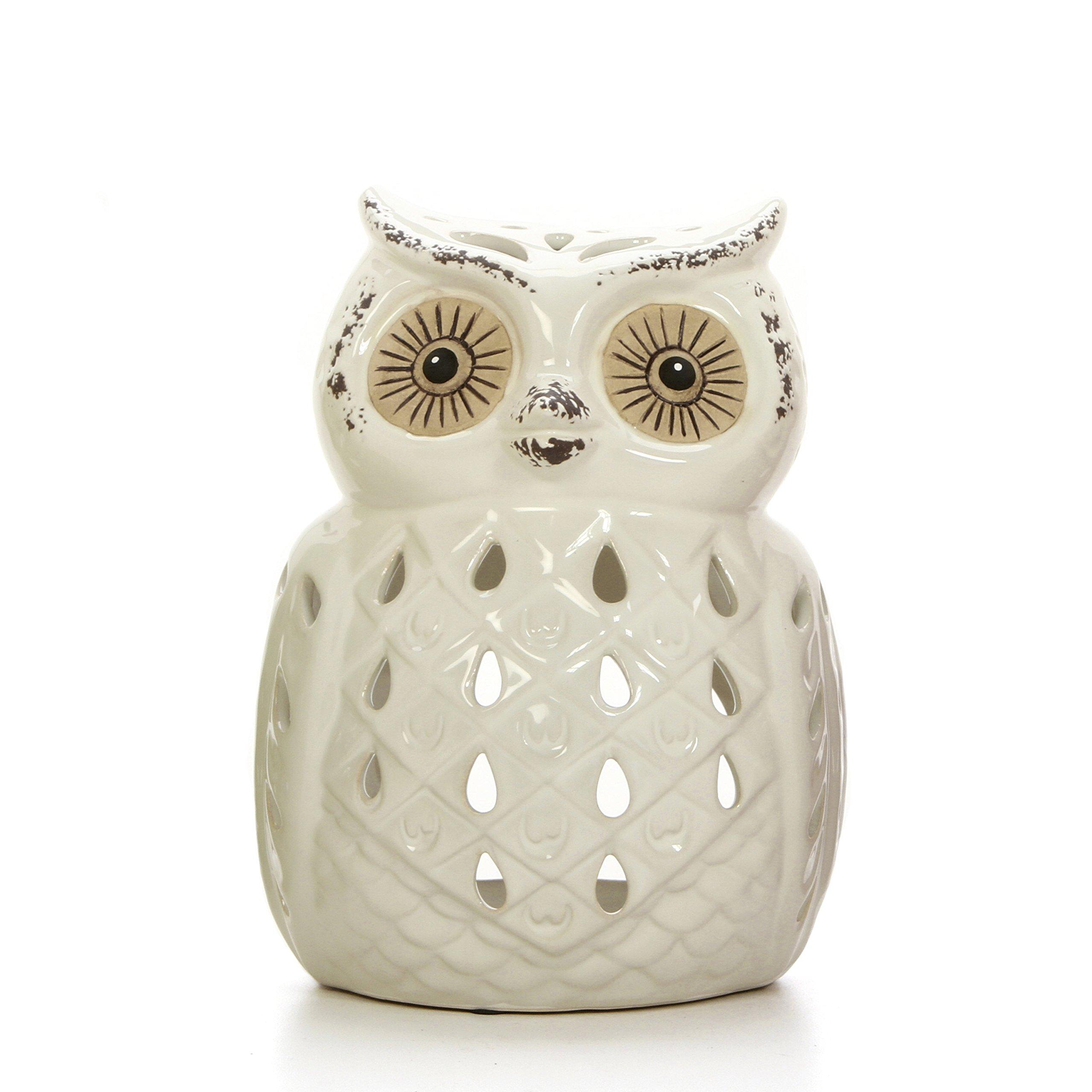 Hosley White Ceramic Owl Tealight Holder- 7'' High. Ideal Gift for Wedding, Party, spa, Reiki etc, Tea Light P2