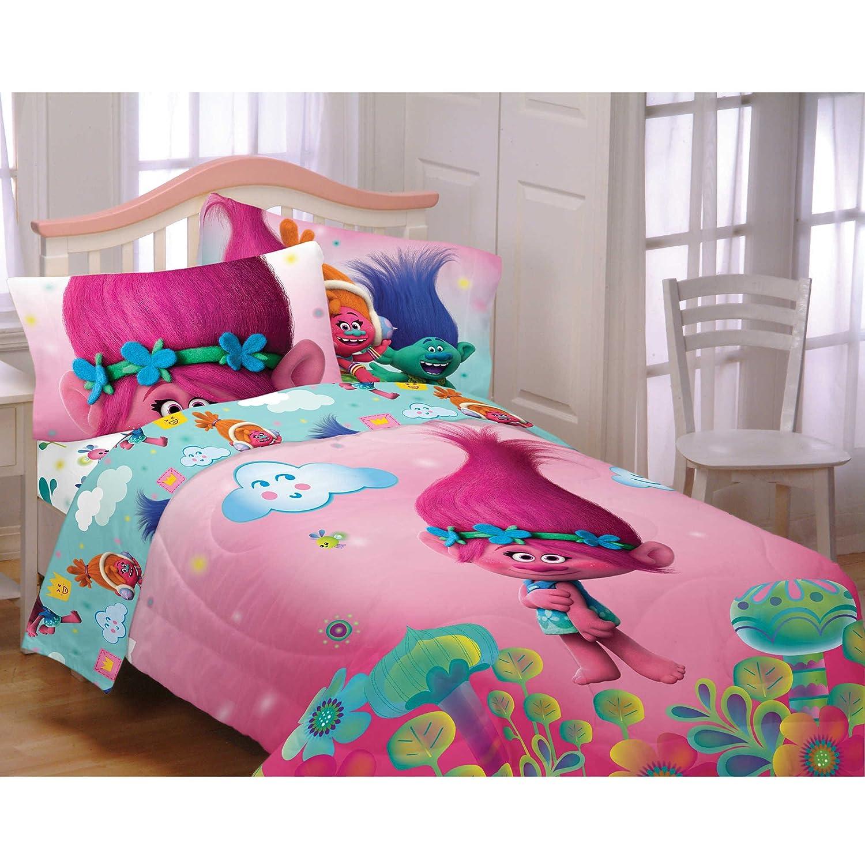 DreamWorks Trolls Hugs Harmony Comforter + Sheets 5pc Bedding Set (Twin/Full Size)