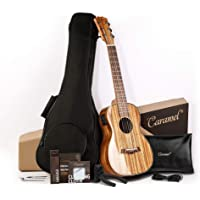 Caramel 6 String CB103G 30 Inch High Gloss Zebra Wood Acoustic & Electric Ukulele Guitalele with Truss Rod with Strings…