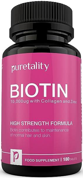 Suplemento de Biotina para el Crecimiento del Cabello con Colágeno, Zinc y Vitamina C, 180 Comprimidos (Suministro Para 6 Meses), Biotina Única de ...