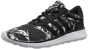 adidas NEO Women's Lite Racer W Casual Sneaker,Black/Black/White,9 M US