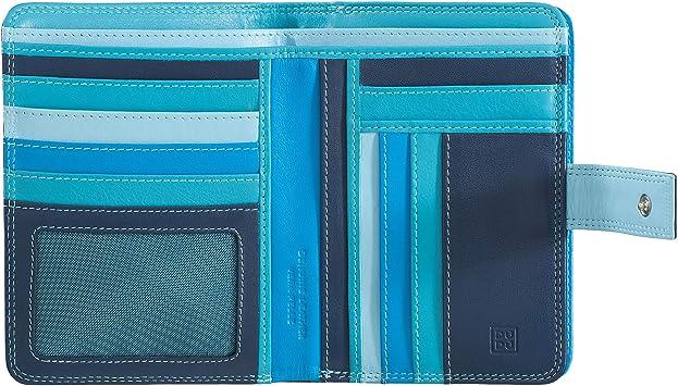 Portafoglio donna a bustina in pelle multicolore firmato DUDU Blu