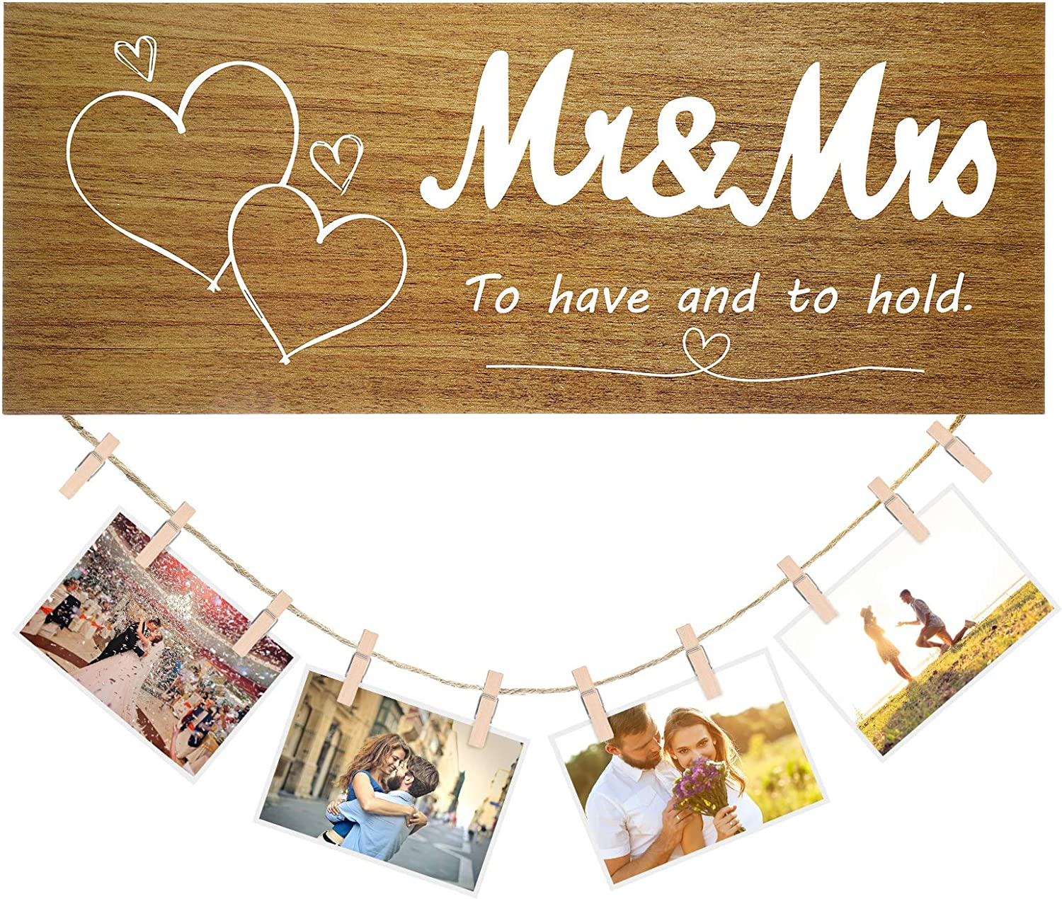 Jetec Valentine's Day Wood Sign Mr. & Mrs Picture Frame Wooden Hanging Photo Display Wall Hanger Decor with Photo Clip and Rope for Wedding Holiday Decor, 14 x 5.5 Inch