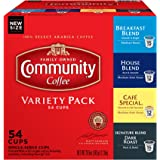 Community Coffee Variety Pack Medium to Dark Roast Single Serve 54 Ct Box, Compatible with Keurig 2.0 K Cup Brewers, Rich Smooth Flavor, 100% Arabica Coffee Beans