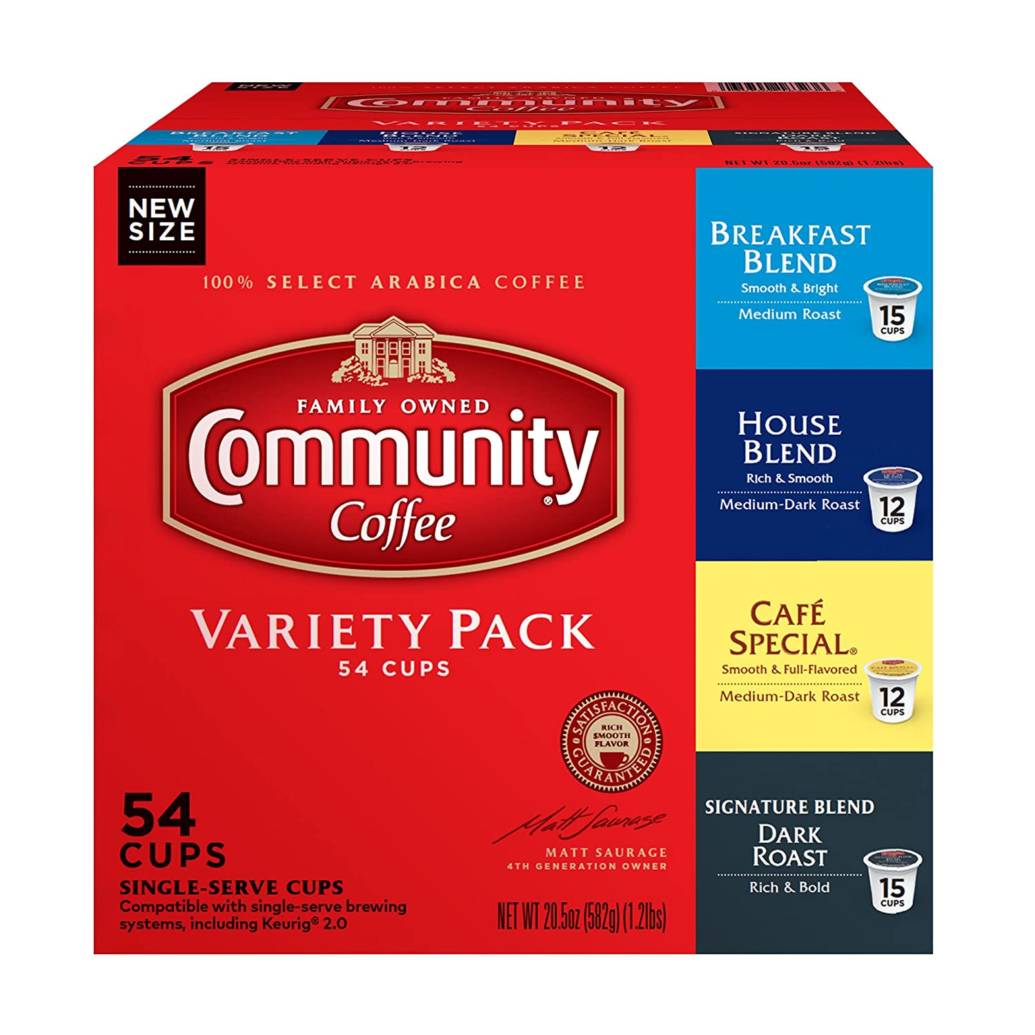 Community Coffee Variety Pack Medium to Dark Roast Single Serve K-Cup Coffee Pods, Box of 54 Pods