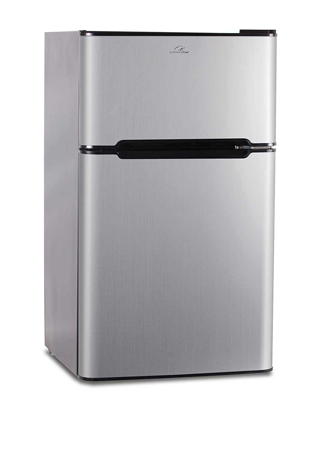 Commercial Cool CCRD32V 3.2 Cu.Ft. Compact Double Door Fridge with True Freezer and R600a Refrigerant, Stainless Steel VCM, R600a