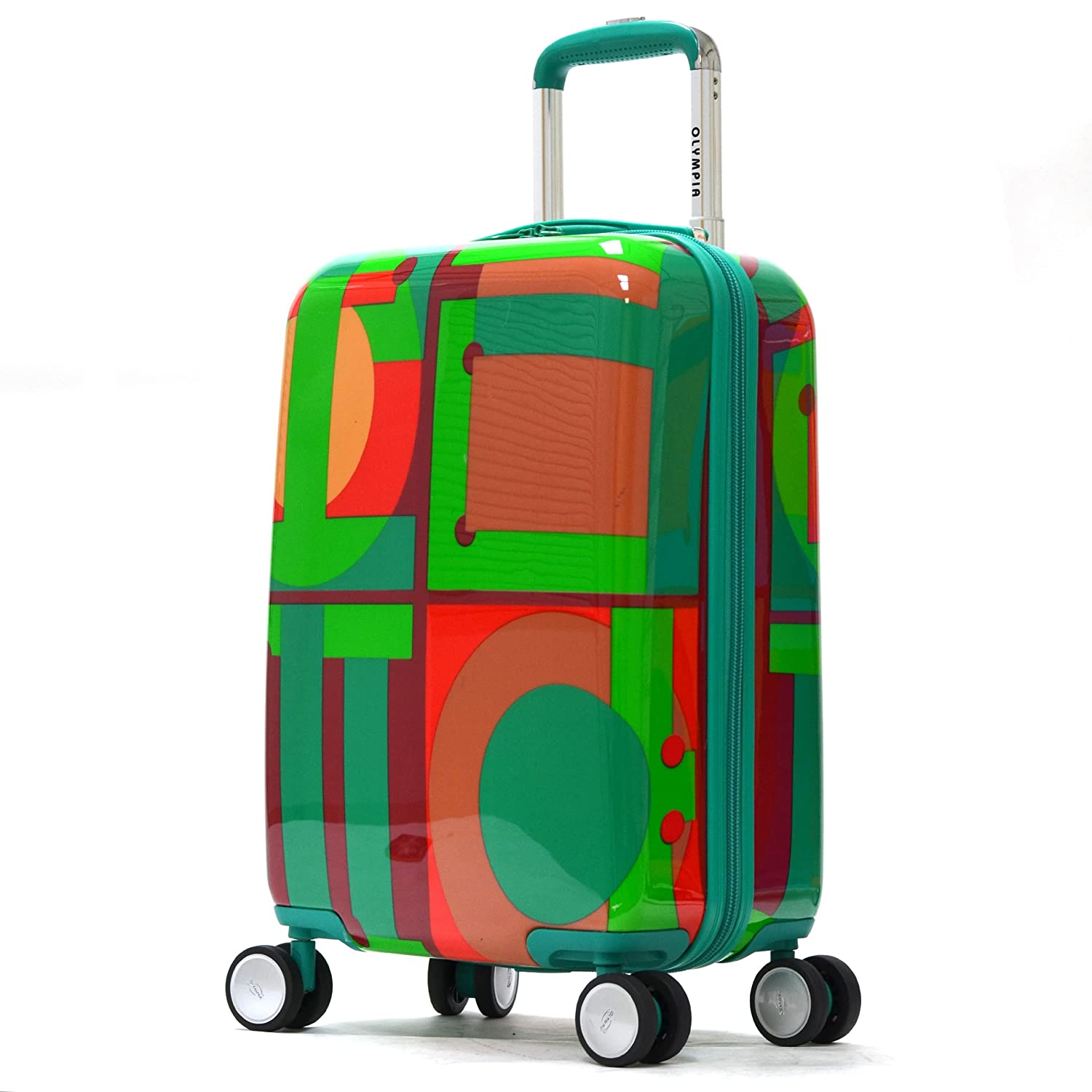 Olympia Luggage Art Series 21 Inch Carry-on, Peacock Green, One Size